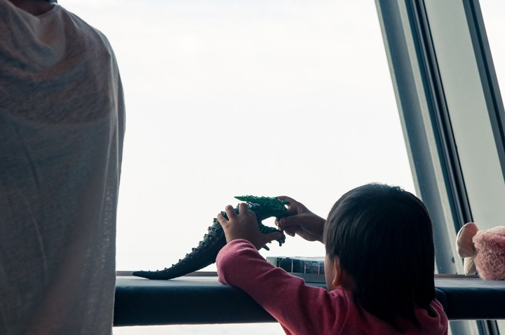 Kid playing with a dinosaur in the Tokyo Skytree