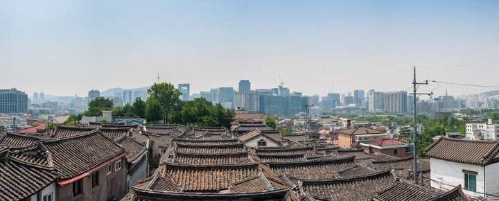 Panorama of Bukchon Hanok Village rooftops