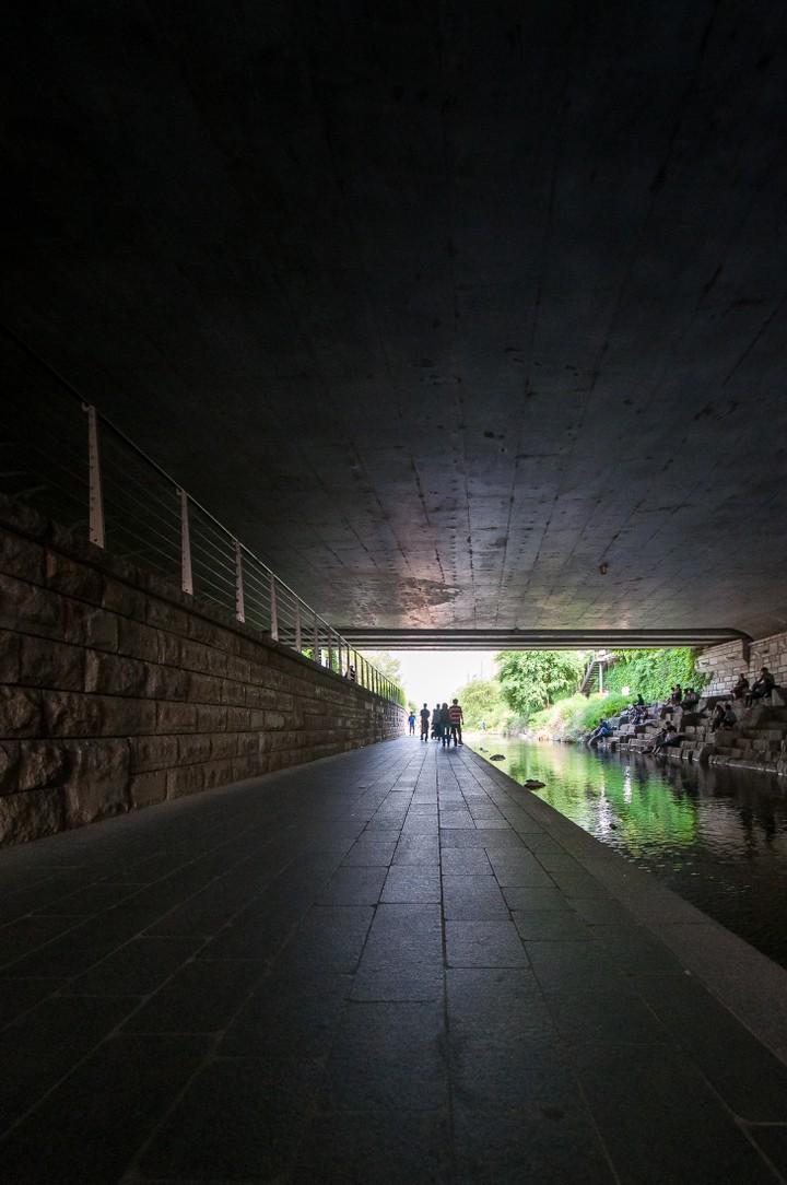 View from under bridge at Cheonggyecheon
