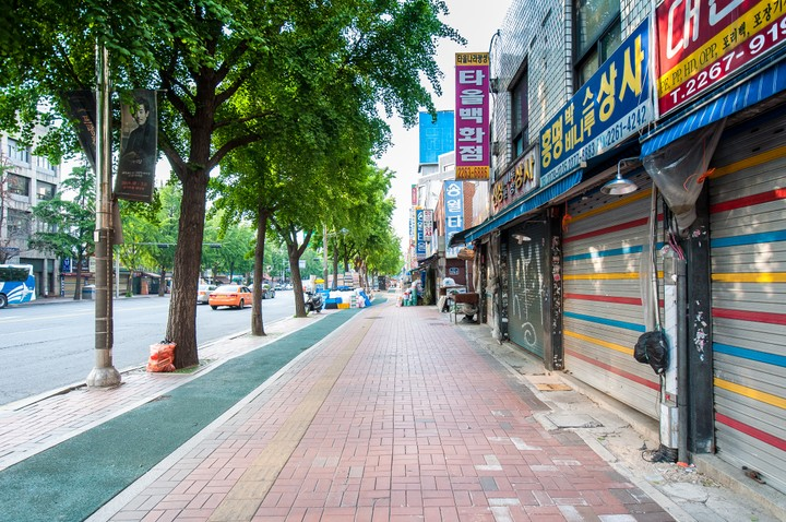 Street in Seoul with shops selling building materials