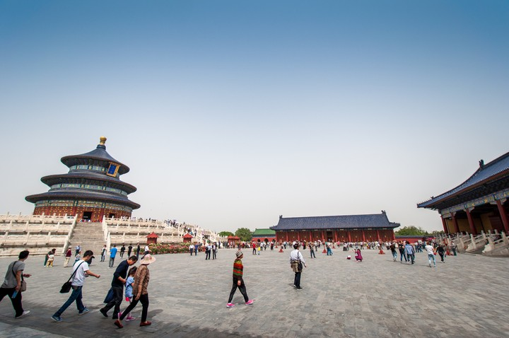 View of square around the Hall of prayer at the Temple of Heaven in Beijing