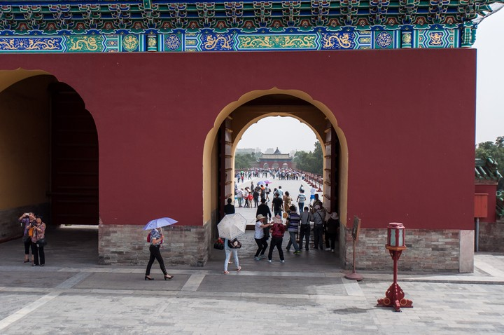 View through the gate at the Temple of Heaven in Beijing