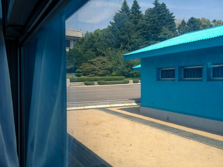 Looking into North Korea from the blue houses at the Joint Security Area