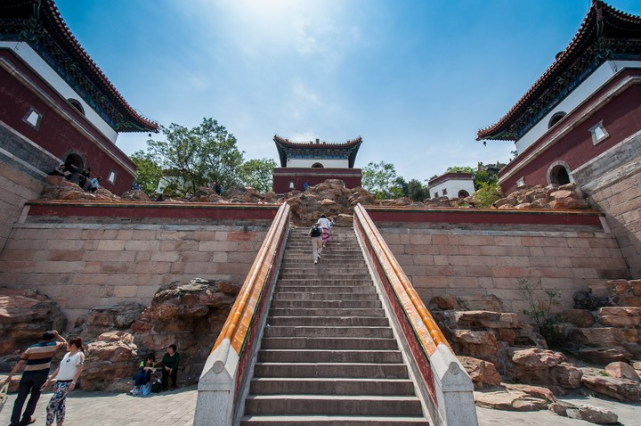 Stairs leading up to the top of the Summer Palace in Beijing