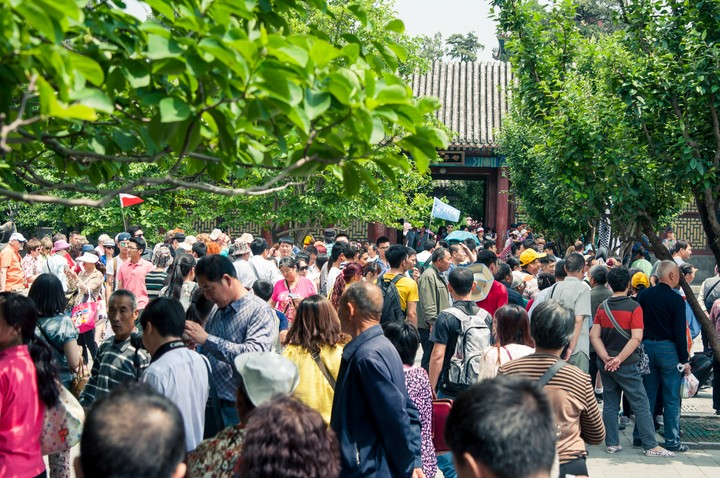 Crowds near the exit of the Summer Palace in Beijing
