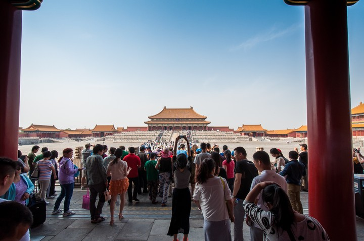 Wide-angle view of the Forbidden City in Beijing