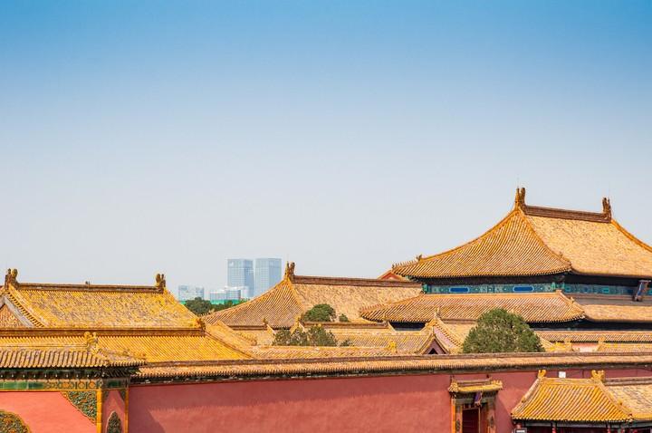 Beijing towers in the background of the Forbidden City in Beijing