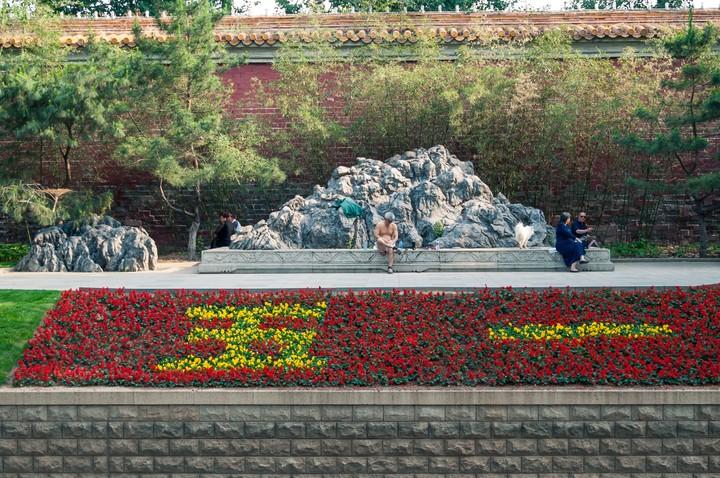 Man resting near garden in Beijing