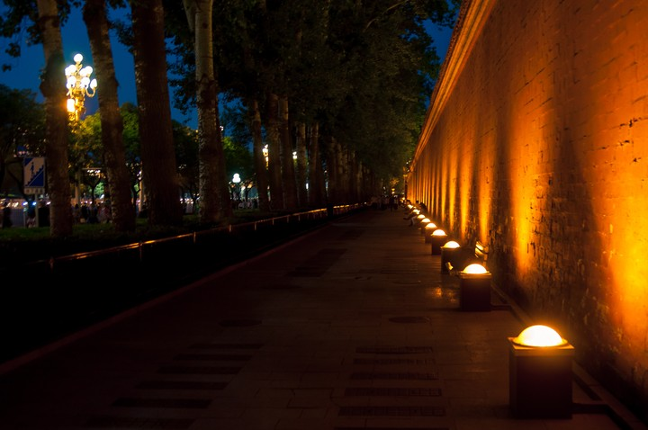 Night view of the wall surrounding the Forbidden City in Beijing