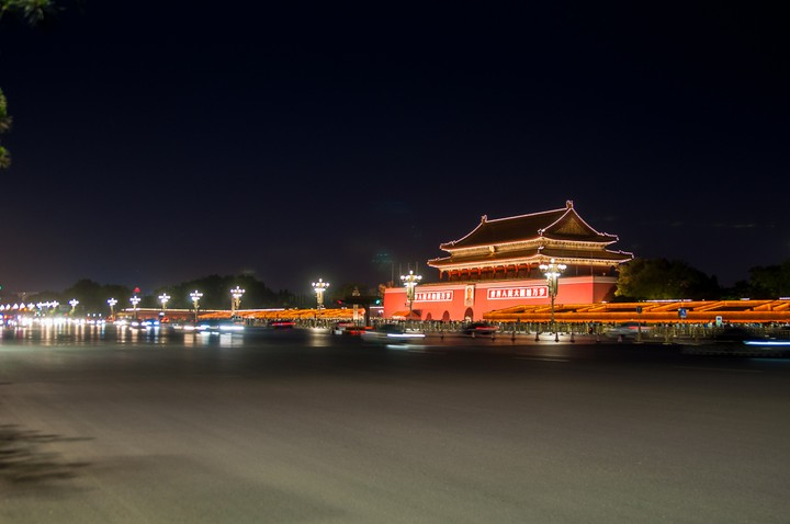 Night view of the entrance of the Forbidden City in Beijing