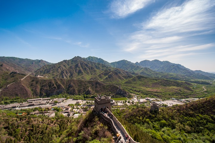 View down the valley from the Great Wall of China