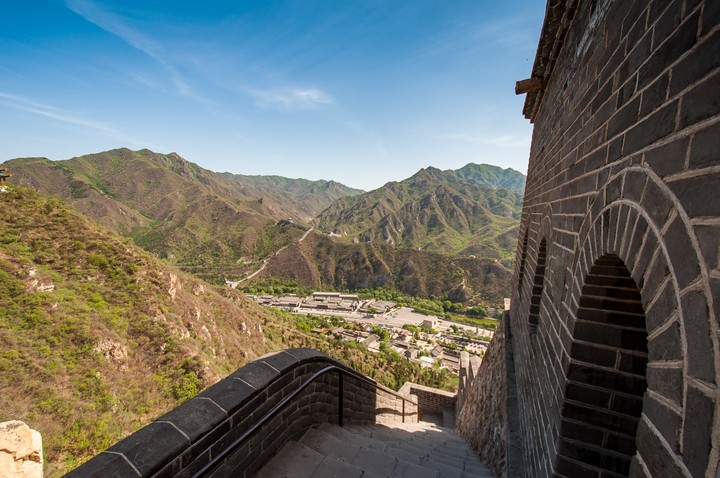Looking down to the valley from the Great Wall of China