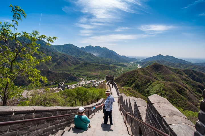 Looking down from the Great Wall of China