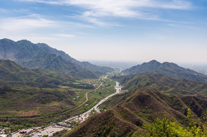 Valley view from the Great Wall of China
