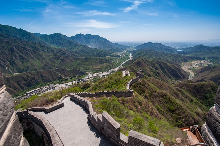Stair view from the Great Wall of China