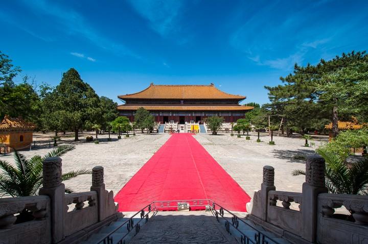 Red carpet between buildings at the Emperors Tomb in Beijing