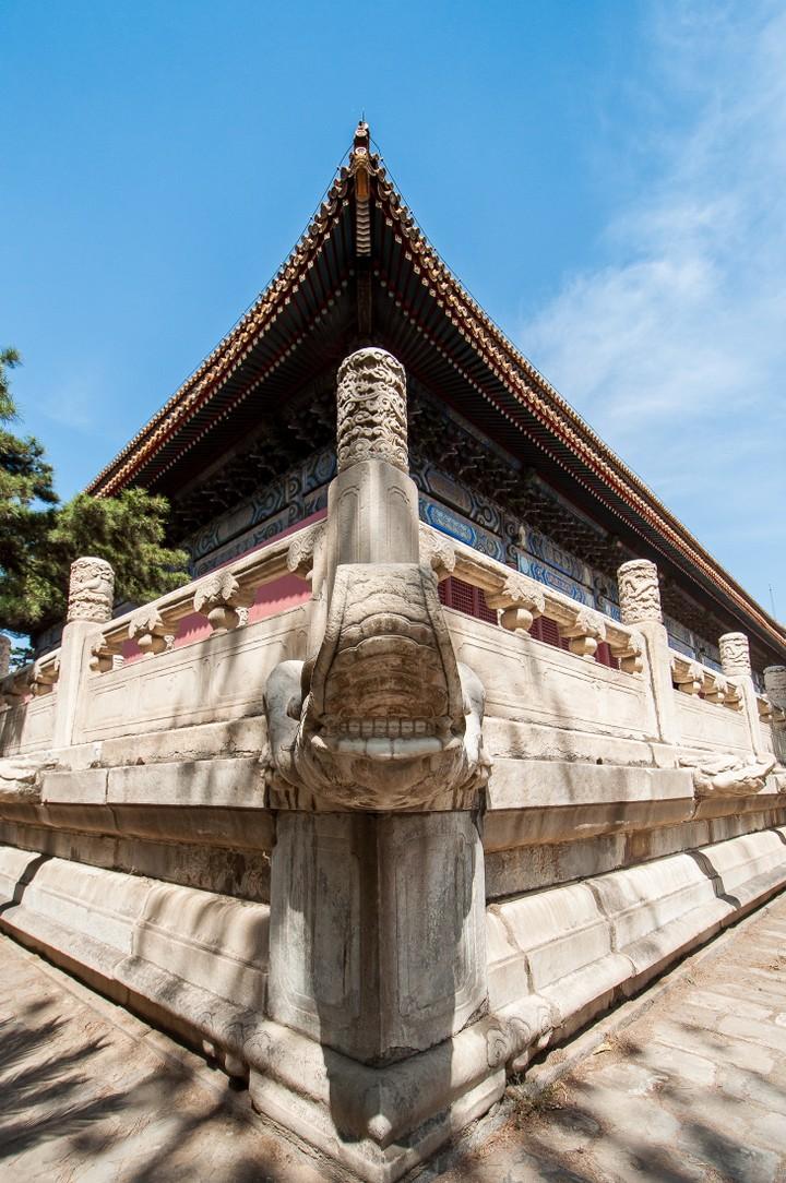 Corner of building at the Emperors Tomb in Beijing