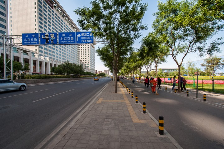 Street next to Olympic swimming pool in Beijing
