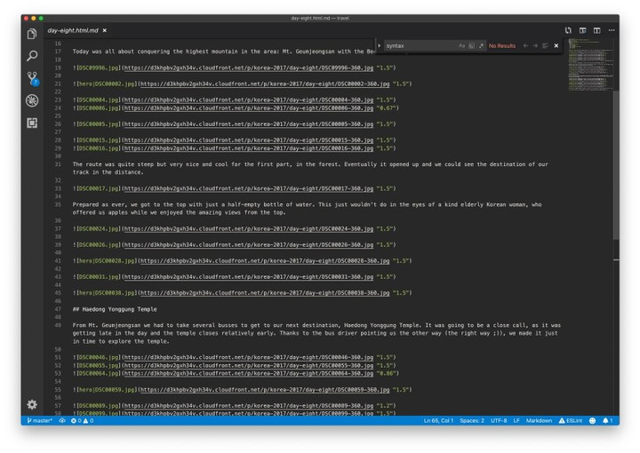 Screenshot of vs-code with this blogs code