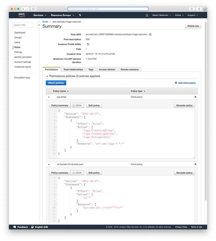 Screenshot of AWS IAM page