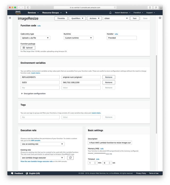 Screenshot of AWS Lambda config options