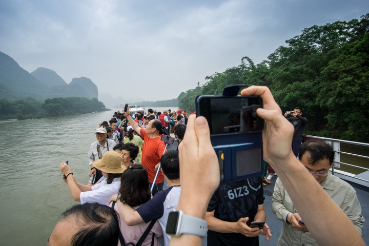 Busy Deck on a boat at the Li River