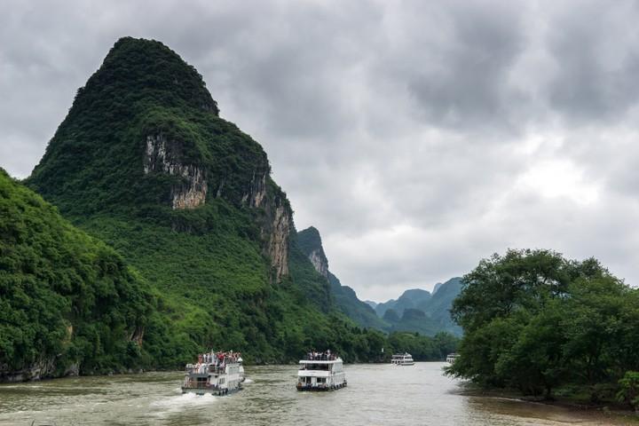 Boats on the Li River near Guilin