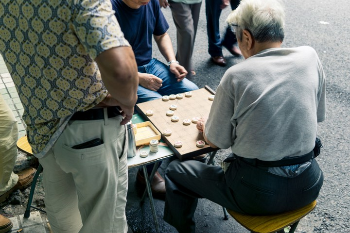 People playing games on the street