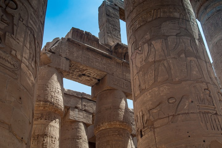 Photo of Egyptian ruins with hieroglyphs in Luxor