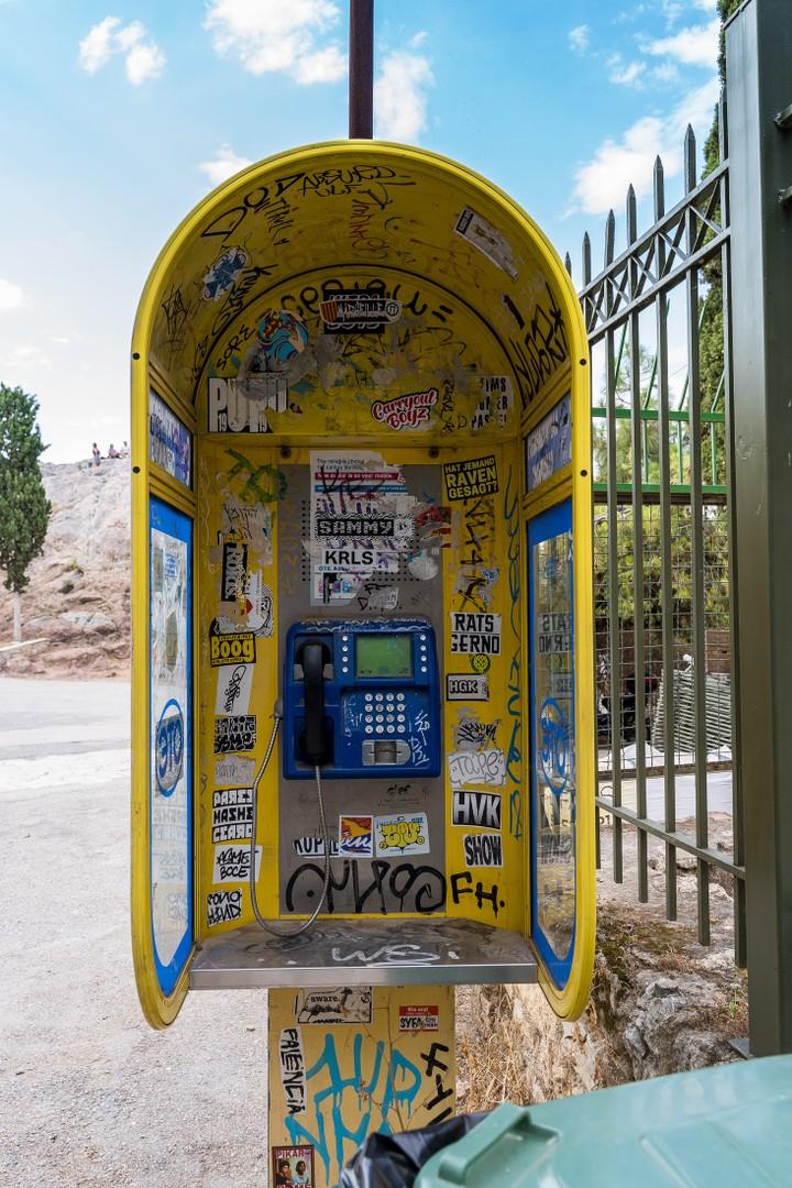Greek phone booth