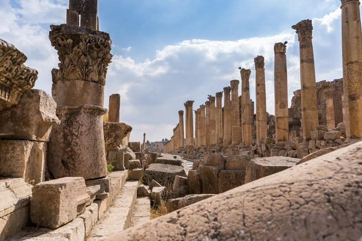 Fallen columns along Cardo Maximus