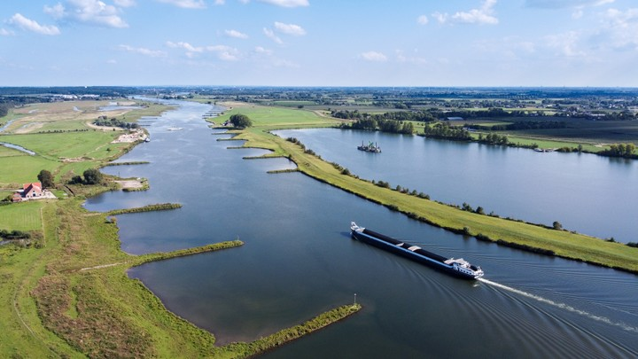 Drone shot of ship sailing on the Rhine river