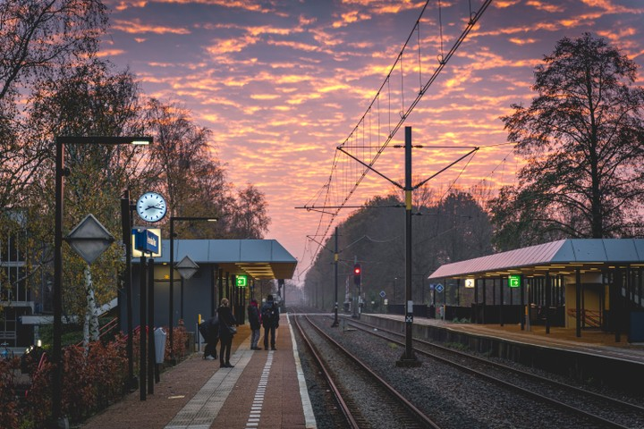 Veenendaal West station at early morning sunrise