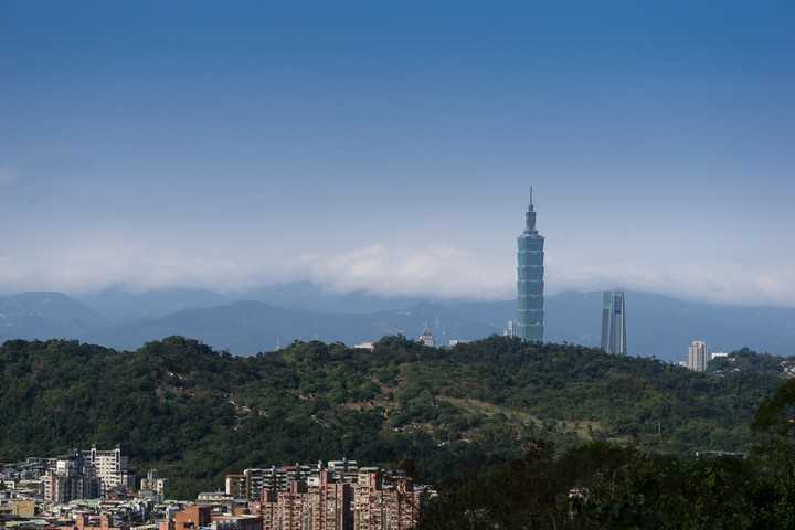 View of Taipei 101 from the surrounding mountains