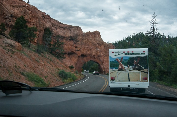 Road leading up to Bryce Canyon, stuck behind a CruiseAmerica camper