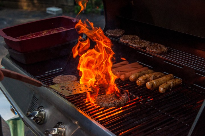 Burger beeing grilled