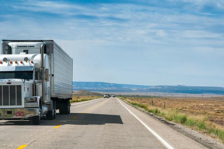 US Highway with truck passing, in Utah