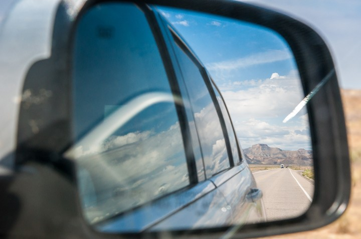 View in rear-view mirror, showing Utah Highway