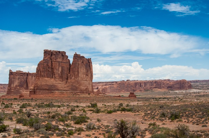 Landscape scenery with a large rock in Arches Nat. Park