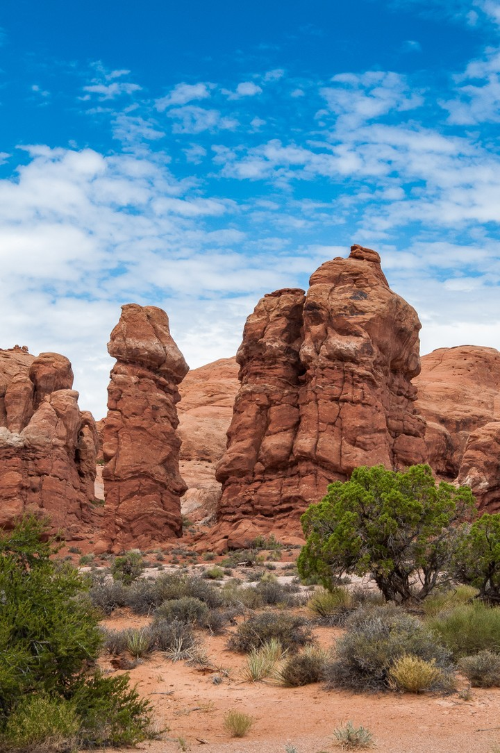 Vertical boulders in Arches Nat. Park