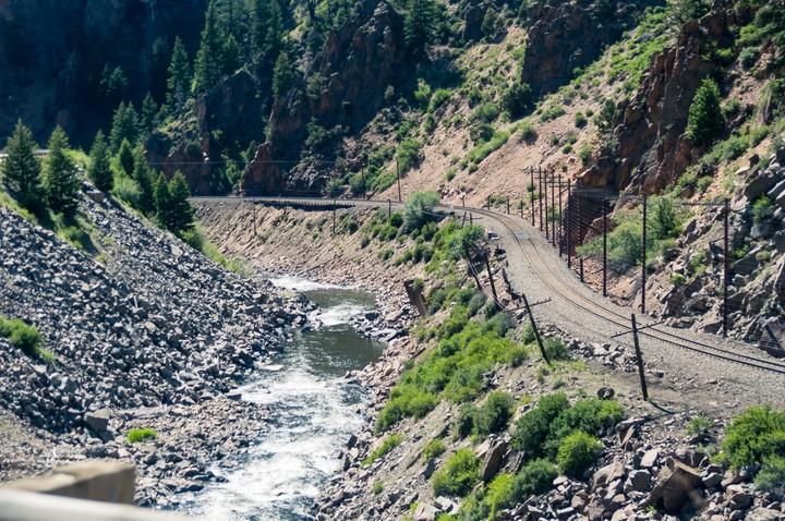 Railroad tracks near a river