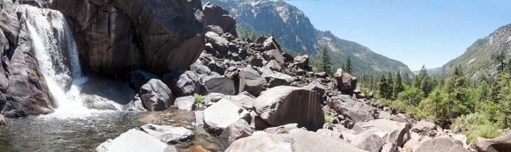 Panorama of waterfall at Yosemite Nat. Park