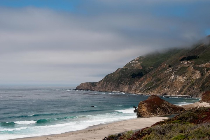 View of beach on Highway One