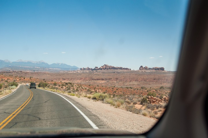 View from car of desert at Arches Nat. Park