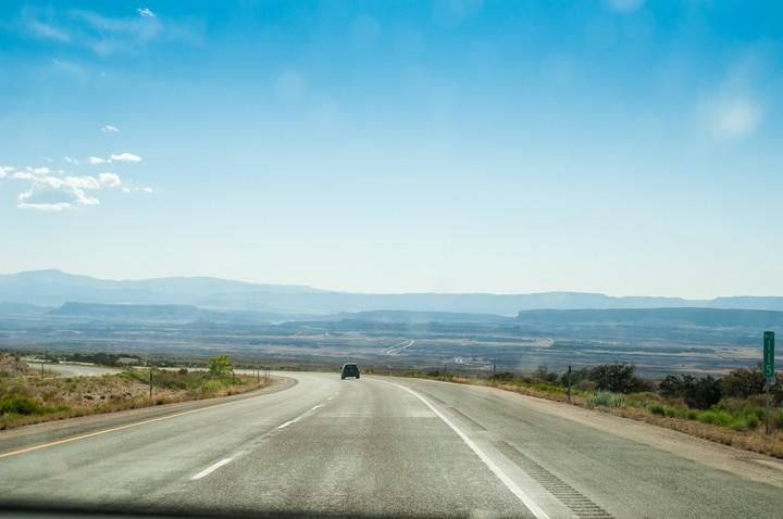 View through dirty windscreen of Utah landscape