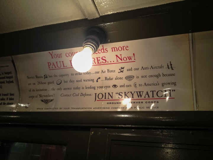 Old subway car with SKYWATCH ad