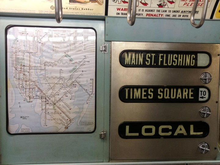View of old subway car Main st. Flushing Times square Local