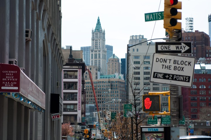 View of Manhattan Watts street with one way sign and dont block the box sign