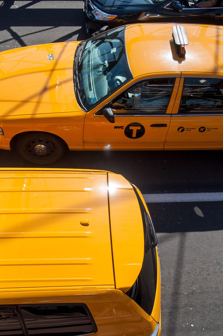 New York taxi from above