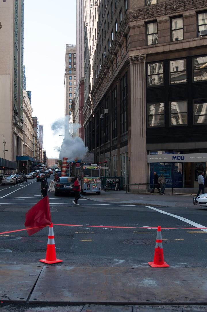 Manhattan street with steam pipe